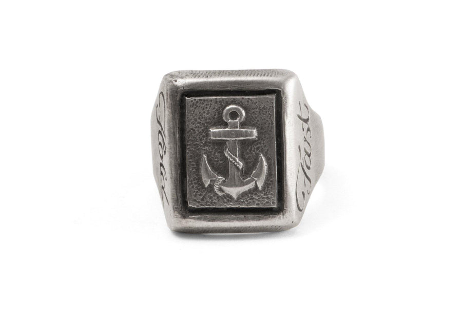 #032 - Signet Ring Navy Hold Fast - 877 Workshop