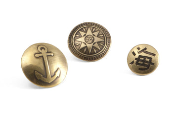 #071 – Sailor Pin: Anchor, Compass Rose, Umi (the Sea) - 877 Workshop