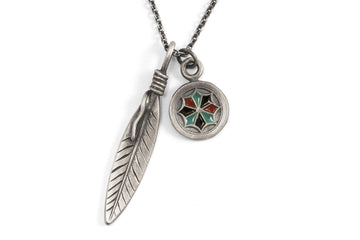 #065 - Necklace Feather and Dreamcatcher - 877 Workshop