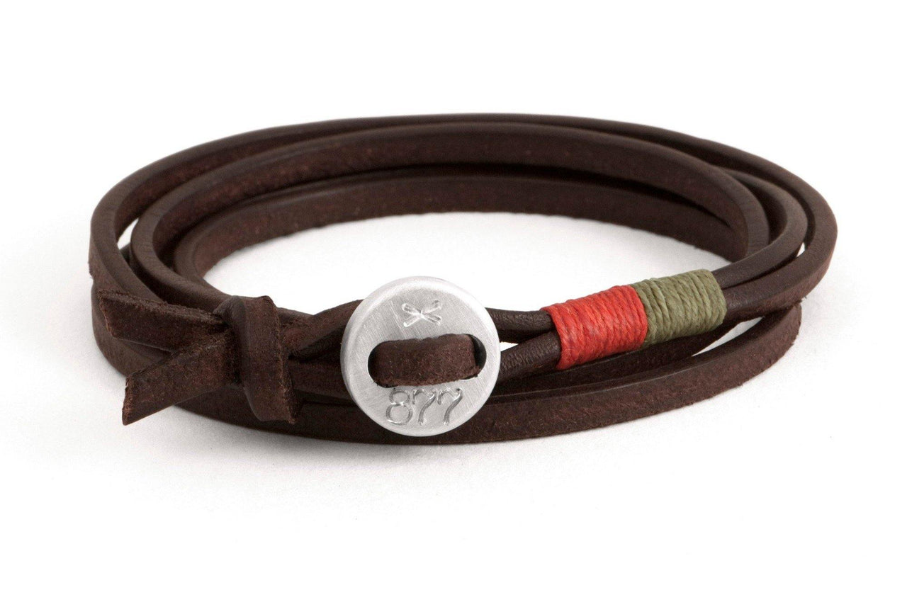#79 - Men's bracelet button brown leather orange green