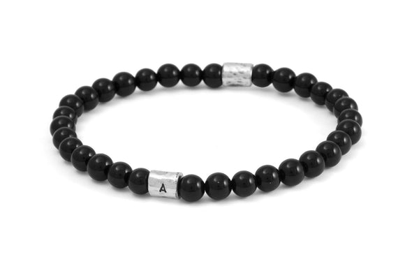 #74 - Men's beaded bracelet I.D. tube Onyx black