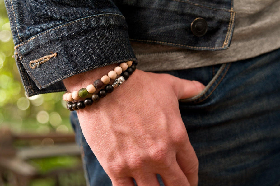 #168 - Men's beaded bracelet Sterling Silver Skull tigerwood - 877 Workshop