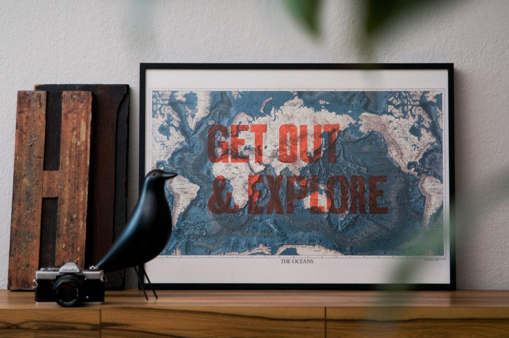 #30 - Get out & explore the oceans woodtype print poster