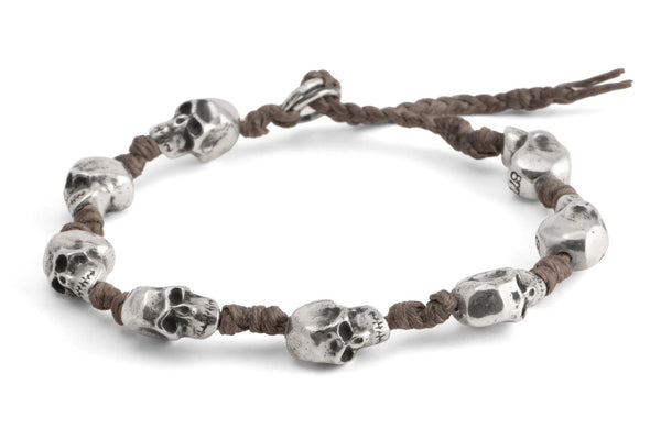 #69 - Men's bracelet Canvas Sterling Silver Skull brown