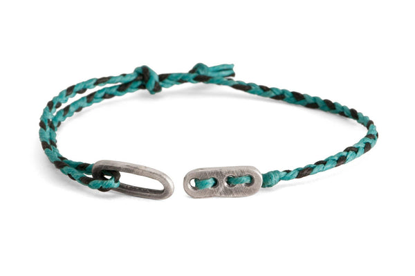 #54 - Men's bracelet Canvas Sterling Silver toggle turquoise black