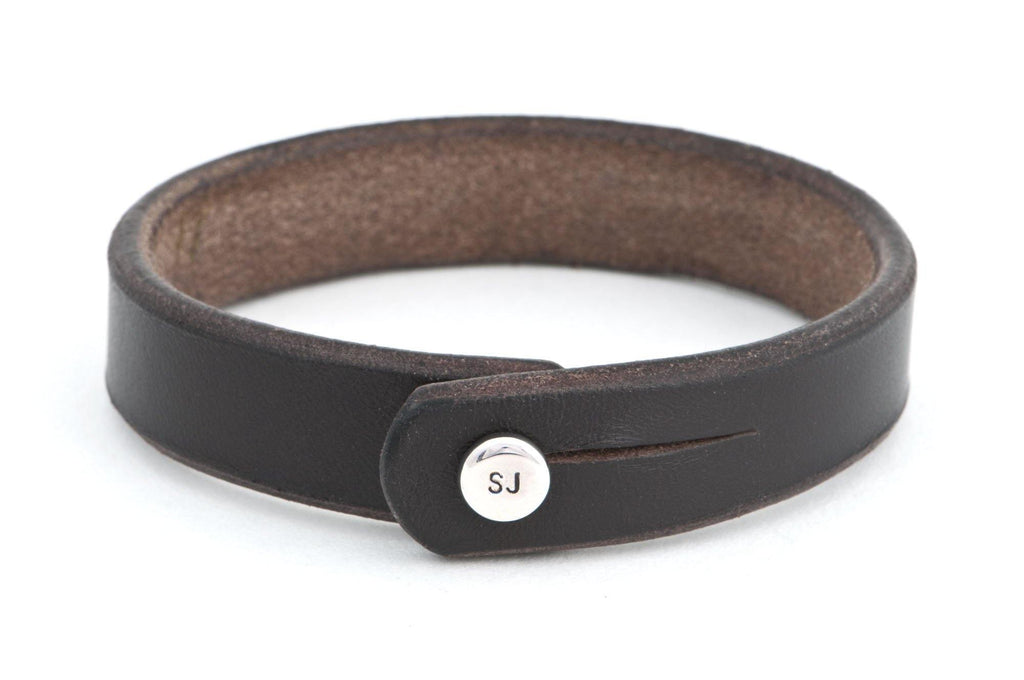 #108 - Men's bracelet brown leather alu knob