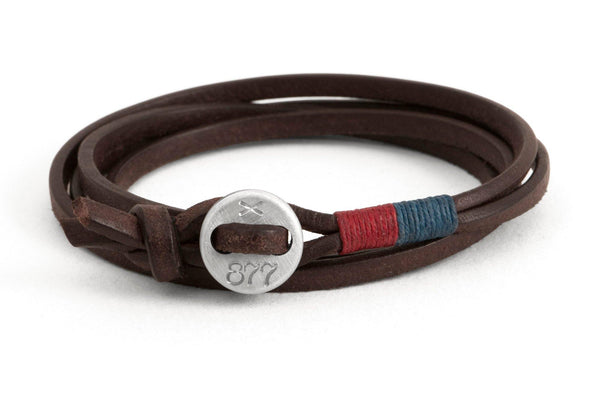 #78 - Men's bracelet button brown leather red blue