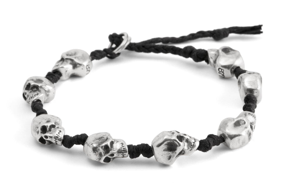 #68 - Men's bracelet Canvas Sterling Silver Skull black