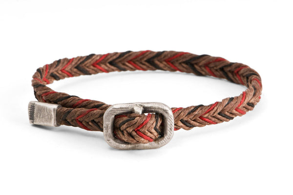 #66 - Men's bracelet Canvas Sterling Silver buckle brown red black