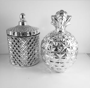 Geo Cut Glassware Silver Pineapple or Jar