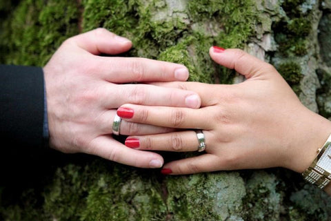 Tungsten and ceramic promise rings for men and women from Steven G Designs