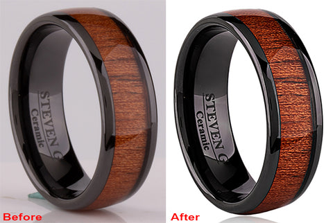 Ceramic Ring with Koa Wood Inlay
