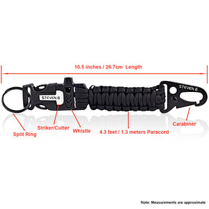 Steven G Paracord Carabiner Survival Keychain with Firestarter and Whistle - (pack of 2) PCKC062BKBK