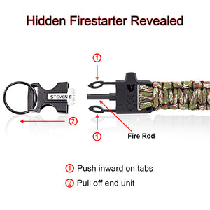 Steven G Paracord Carabiner Survival Keychain with Firestarter and Whistle - (pack of 2) PCKC062CACA - Steven G Designs