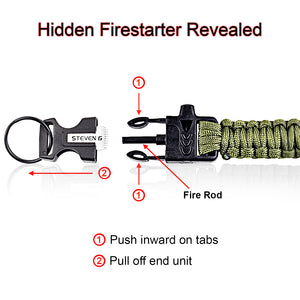 Steven G Paracord Carabiner Survival Keychain with Firestarter and Whistle - (pack of 2) PCKC062BKAG - Steven G Designs
