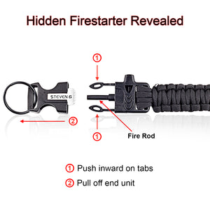 Steven G Paracord Carabiner Survival Keychain with Firestarter and Whistle - (pack of 2) PCKC062BKBK - Steven G Designs