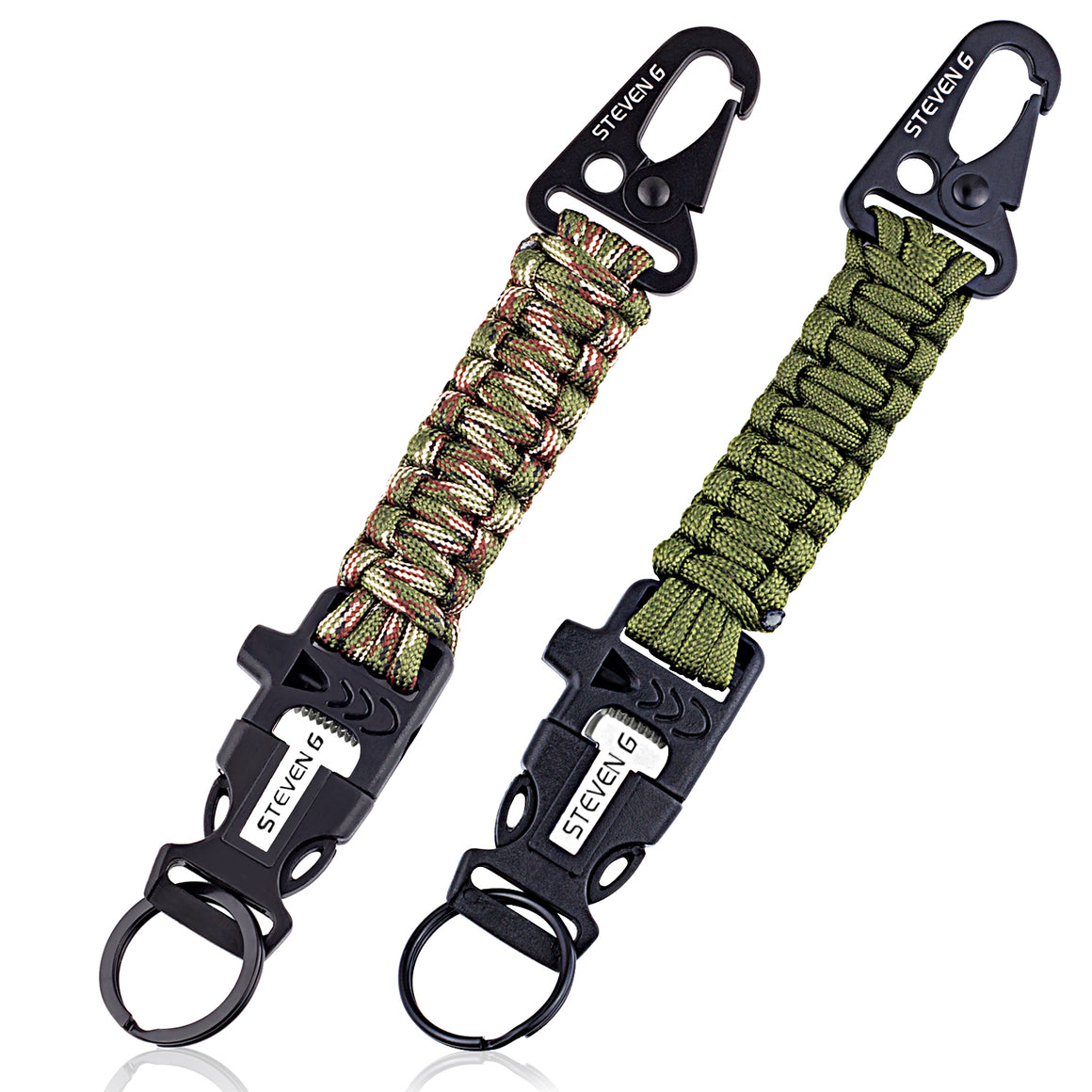 Steven G Paracord Carabiner Survival Keychain with Firestarter and Whistle - (pack of 2) PCKC062AGCA