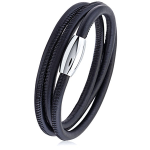 Stainless Steel Black Smooth Leather Bracelet With Steel Magnetic Clasp