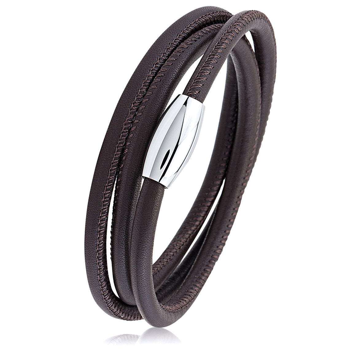 Stainless Steel Brown Smooth Leather Wrap Bracelet With Steel Clasp