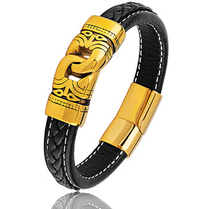 Stainless Steel Black Braided Leather Bracelet With Gold Plated Steel Clasp