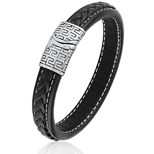 Stainless Steel Black Braided Leather Bracelet With Steel Clasp