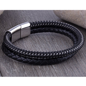 Men's Stainless Steel Black Leather Bracelet Hand-Braided Leather and Steel Wire With Steel Secure Slide Magnetic Clasp Lock - SSLB113