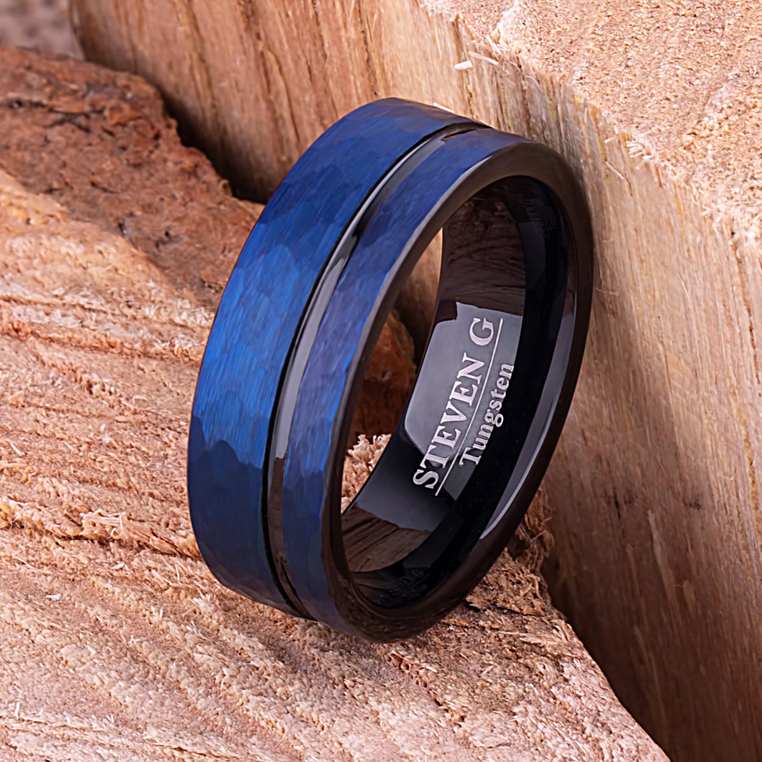 Black and Blue Tungsten Ring 8mm - TCR086 unique black and blue men's engagement or wedding ring or anniversary band