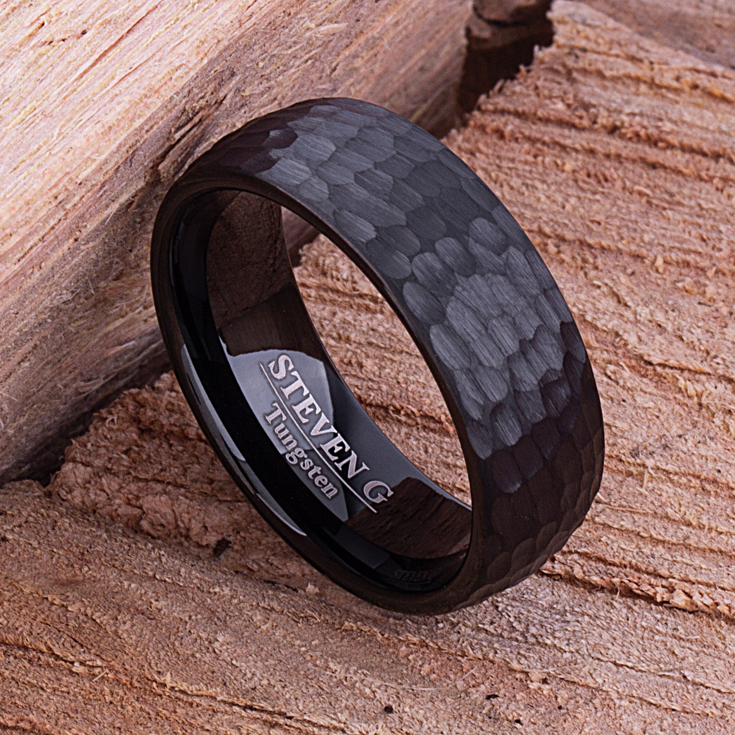 Black Tungsten Band 8mm - TCR093 black men's wedding or engagement band or promise ring for boyfriend