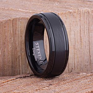 Tungsten Mens Wedding Band 8mm with Black Plating Brushed Center and Beveled Sides, Mens Engagement Ring, Unique Wedding Band, Tungsten Ring -TCR095