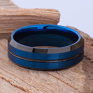 Tungsten Mens Wedding Band 8mm with Blue & Black Plating Brushed Top Beveled Sides, Mens Engagement Ring, Unique Wedding Ring, Tungsten Ring - TCR099