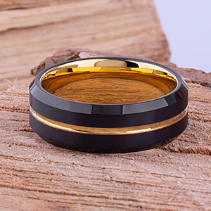 Tungsten Mens Wedding Band 8mm with Black and Yellow Gold Plating, Brushed Center, Mens Engagement Ring, Promise Ring for Him, Tungsten Ring - TCR100