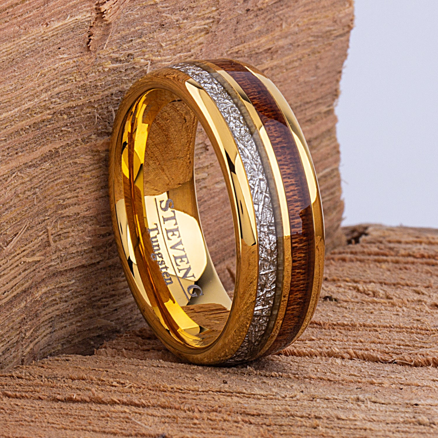 Yellow Tungsten Ring with Meteorite and Koa Wood 8mm - TCR102 wood and yellow gold men's wedding or engagement band or promise ring