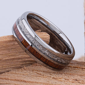 Tungsten Band with Koa Wood and Man Made Meteorite 8mm - TCR103 meteorite and wood engagement band or wedding ring or promise band