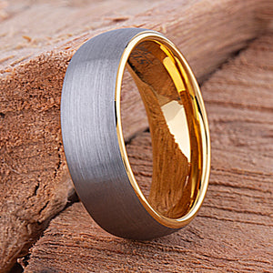 Tungsten Mens Wedding Ring 8mm with Yellow Gold Interior and Brushed Surface, Tungsten Mens Engagement Band, Tungsten Mans Promise Ring - TCR104