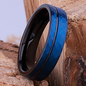 Tungsten Band Blue and Black 6mm - TCR105 black and blue men's wedding or engagement band or promise ring for him
