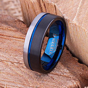 Tungsten Mens Wedding Band 8mm with Black & Blue Plating Brushed, Mens Unique Engagement Ring, Gift For Boyfriend or Husband, Tungsten Ring - TCR106