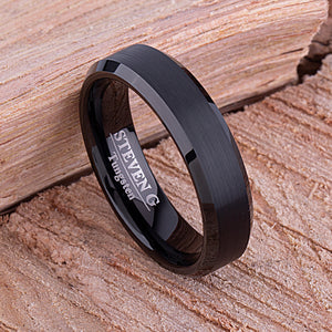 Tungsten Mens Wedding Band, Mans Engagement Ring 6mm Black Color Brushed Center Beveled Edge, Promise Ring for Boyfriend, Gift for Husband - TCR108