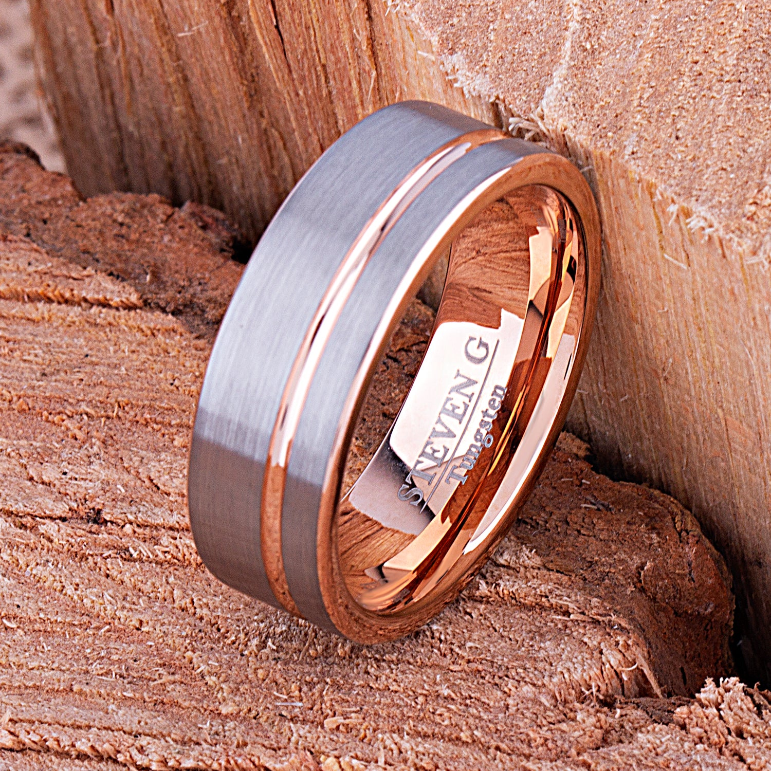 Rose Gold Tungsten Ring  8mm - TCR109 rose gold men's wedding or engagement band or promise ring for boyfriend