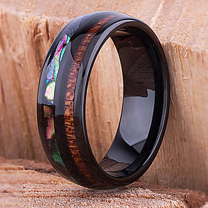 Black Tungsten Band with Koa Wood and Abalone Shell 8mm - TCR111 shell & wood engagement band or wedding ring or promise band