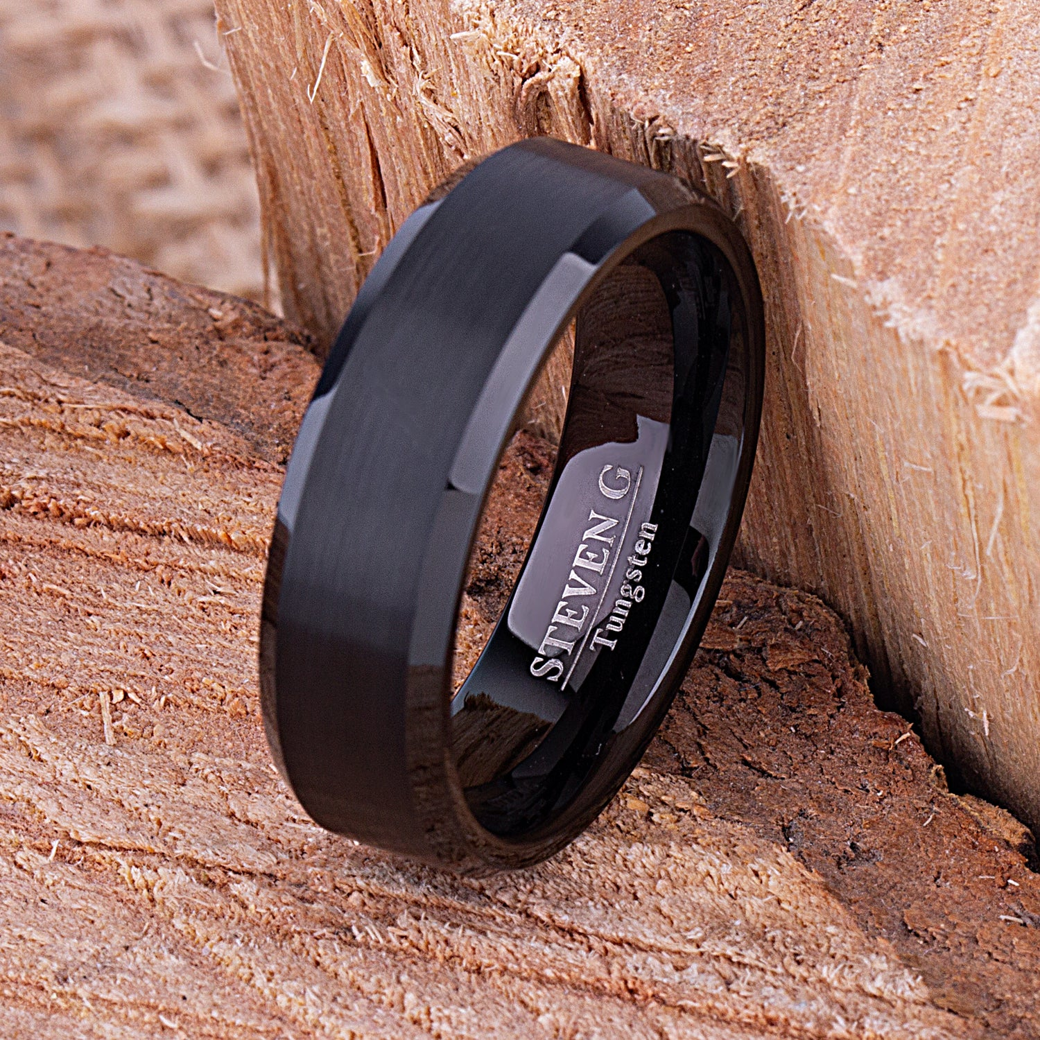 Black Tungsten Band 7mm - TCR112 black men's wedding or engagement band or promise ring for boyfriend