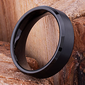Tungsten Mens Wedding Band, Mans Engagement Ring 7mm Black Color Brushed Center Beveled Edge, Promise Ring for Boyfriend, Tungsten Ring - TCR112