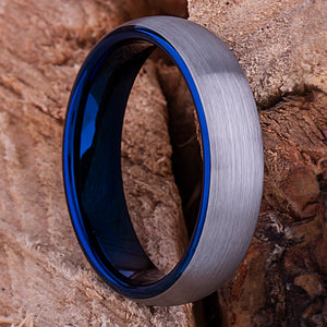 Blue Tungsten Unisex Ring 6mm - TCR116 blue men's wedding or engagement band or promise ring for boyfriend