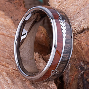 Tungsten Mens Wedding Band 8mm with Koa and Black Zebra Wood, Mens Engagement Ring, Mens Promise Ring, Gift For Him, Mens Tungsten Ring