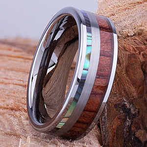 Tungsten Mens Wedding Band 8mm with Koa Wood and Abalone Shell, Mens Engagement Ring, Mens Promise Ring, Gift For Him, Mens Tungsten Ring - TCR119