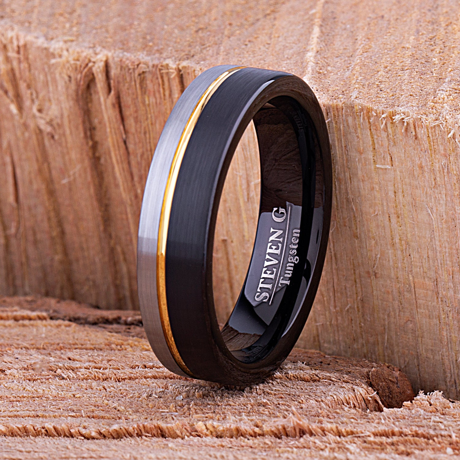 Tungsten Ring Black & Yellow Gold 6mm - TCR120 black & yellow gold engagement band or wedding ring or promise band