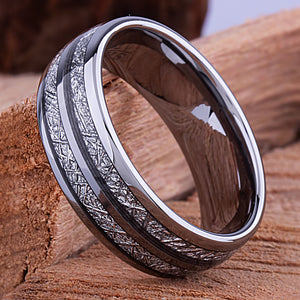 Tungsten Ring with Man Made Meteorite 8mm - TCR123 meteorite men's wedding or engagement band or promise ring