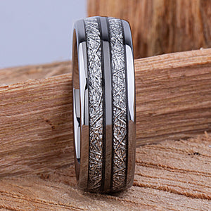 Tungsten Mens Wedding Band 8mm with Double Row Man Made Meteorite, Mens Engagement Ring, Gift for Boyfriend, Anniversary Gift For Him - TCR123