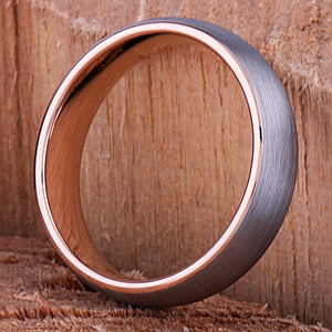 Tungsten Ring with Rose Gold 6mm - TCR124 rose gold engagement band or wedding ring or promise band for boyfriend