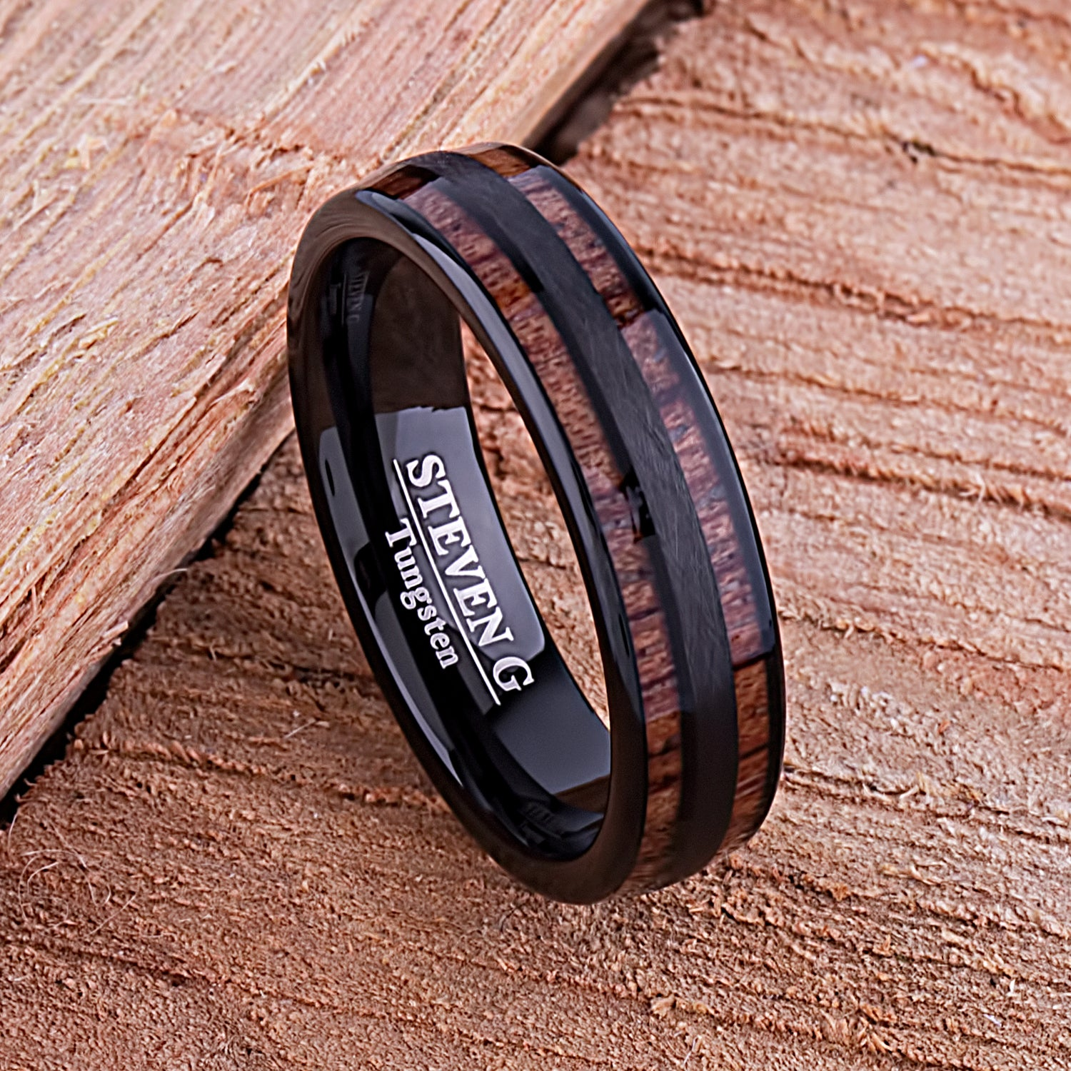 Black Tungsten and Koa Wood 6mm - TCR132 black & wood men's engagement or wedding ring or anniversary band