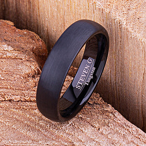Black Tungsten Ring 6mm - TCR134 black men's wedding or engagement band or promise ring for boyfriend